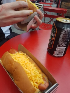 Have a hot dog in Times Square